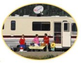 An RV with an automatic internet dish on top.