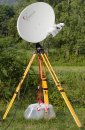 Tripod mounted internet dish.