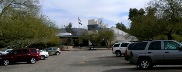 This is a view of the visitor center from the parking lot.