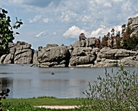 This vies of Sylvan Lake is from the picnic area at the east end.