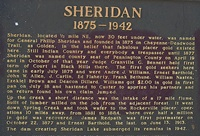 This sign tells the history of Sheridan, the gold town that the lake covers today.