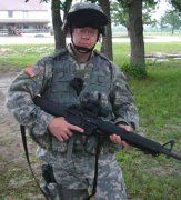 Ken in full battle gear while training at Ft. Hood.