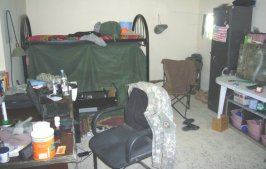 Each soldier on the team has his own room, in the US section of the Iraqi Army base.
