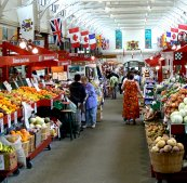 The market is made up of shops of all kinds.