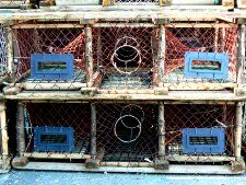 Lobster pots, stacked on the pier is a very common sight on the island.