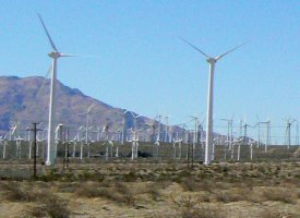 Wind-generators from the very large wind farm near Palm Springs.