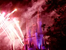 Magic Kingdom's closing show uses the castle as a backdrop.