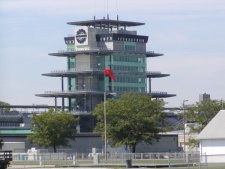 The race control tower is a very large, multistory building.