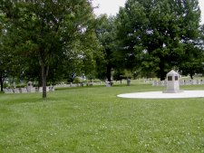 The field of memorials, which is several acres in size.