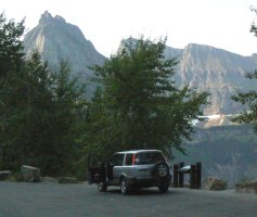 Parked at a scenic turn-out along the Glacier road.