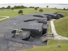 These gun emplacements were used for harbor defence in WWII.