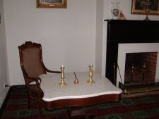 This is the table and chair used by Gen. Lee to sign the surrender of the Army of Virginia to Gen. Grant.