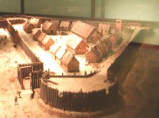 This is a model of what the origional town is believed to have looked like. It is based upon archealogical investigation.