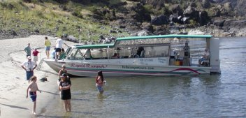 Our tour boat stops for a rest break on a small Snake River beach.