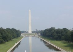 Washington Monument, as seen from the steps of the Lincoln Memorial.