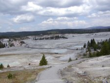 All of the geyser areas have many walk-ways, mostly paved or boardwalks.