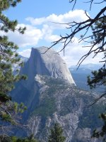 Half Dome is one of the best known of the huge rocks in the park.